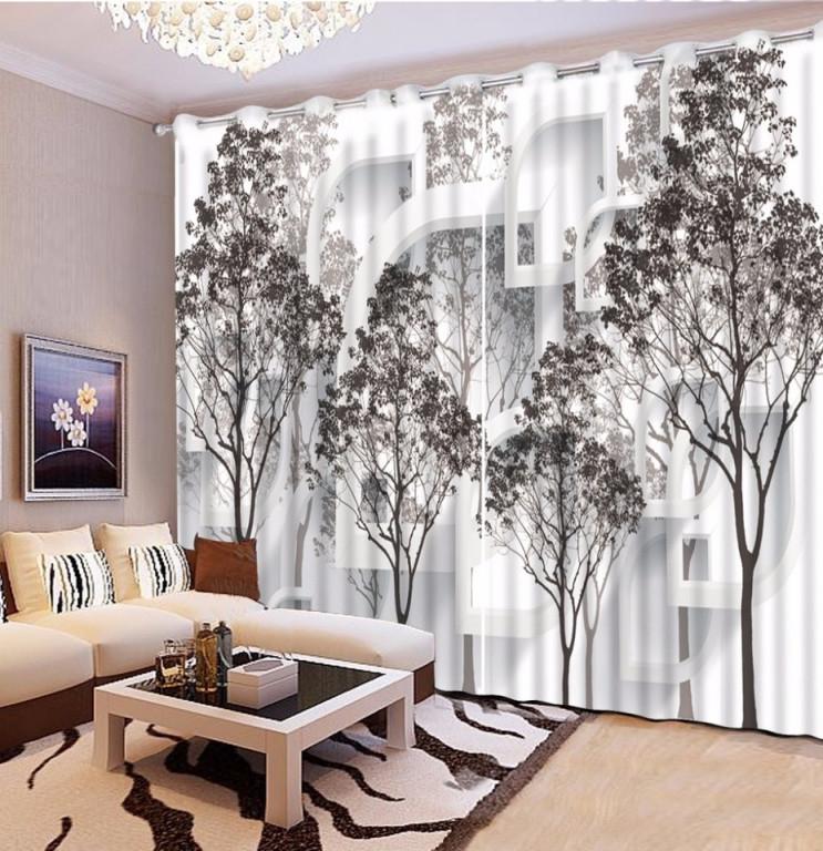 Us $5069 63% Offschwarz Und Weiß Baum Blackout 3D Vorhang Wohnzimmer  Schlafzimmer Vorhänge Dekoration Pastoralen Stil Gardinensheer von Wohnzimmer Gardinen Schwarz Weiß Photo