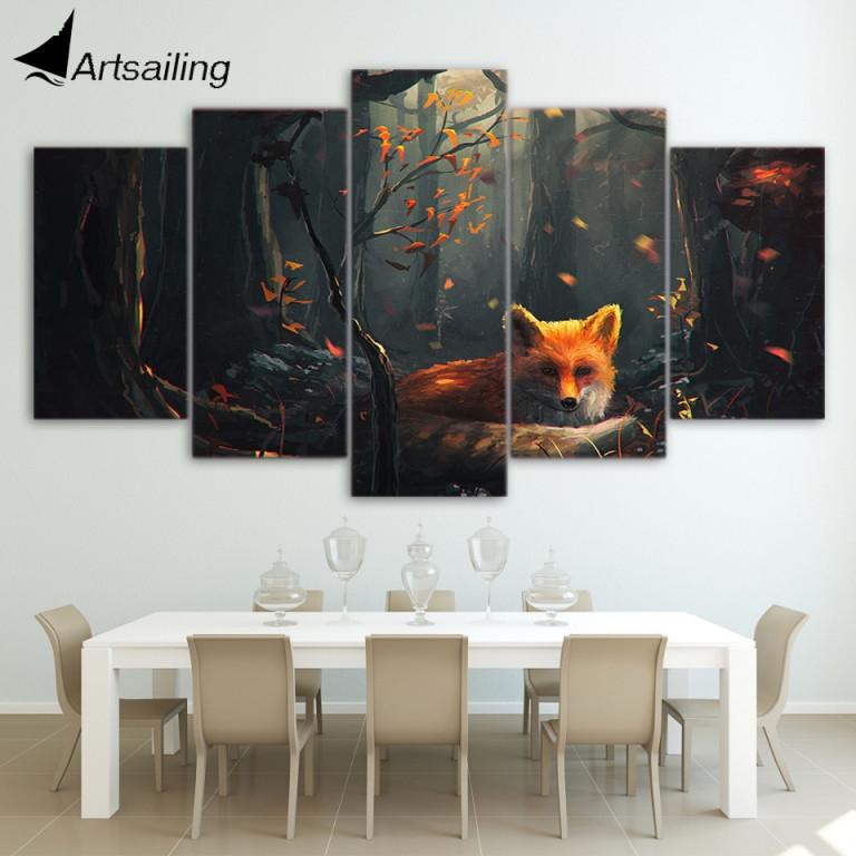 Us $599 40% Offhd Gedruckt 5 Stück Anime Leinwand Wand Bilder Für  Wohnzimmer Moderne Fuchs Wald Poster Und Drucke Kostenloser Versand Ny  6728Bhd von Bilder Leinwand Wohnzimmer Photo