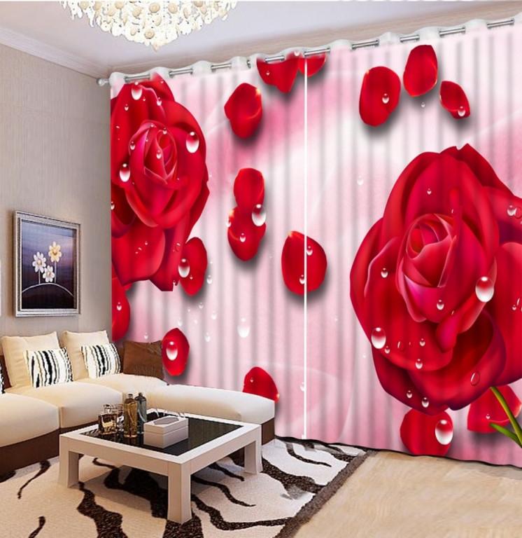 Us $6216 63% Offmoderne Foto Farbe Blackout Gardinen Für Schlafzimmer  Romantische Rote Rose 3D Vorhänge Für Wohnzimmer Hotel Weichen von Romantische Gardinen Wohnzimmer Bild