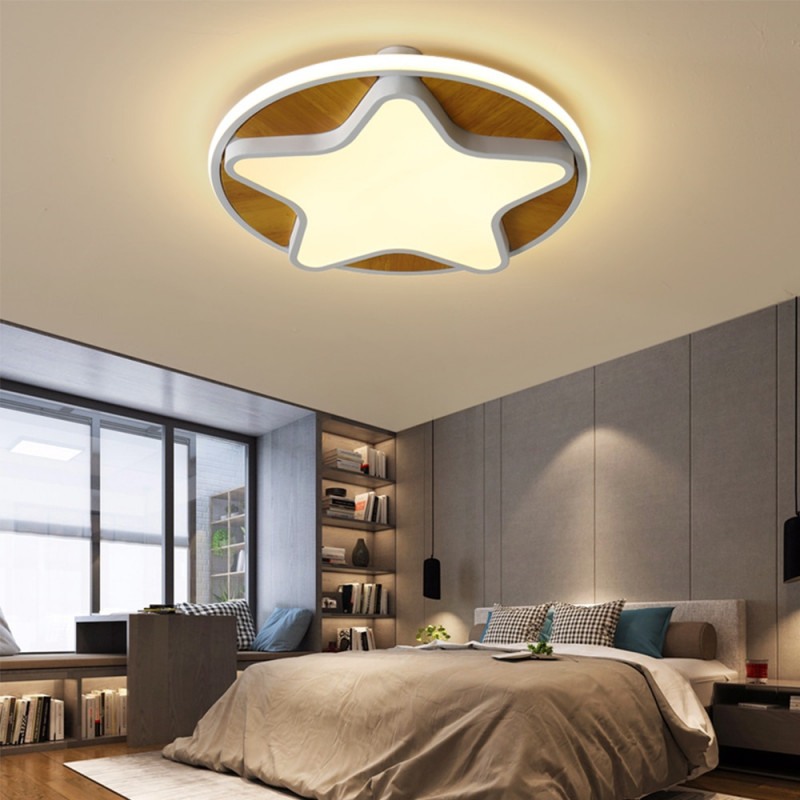 Us $669 50% Offmoderne Led Stern Deckenleuchte Mit Fernbedienung Dimmbar  Holz Deckenlampe Mit Rund Acryl Lampenschirmen Holz Kronleuchter von Deckenleuchte Wohnzimmer Holz Bild