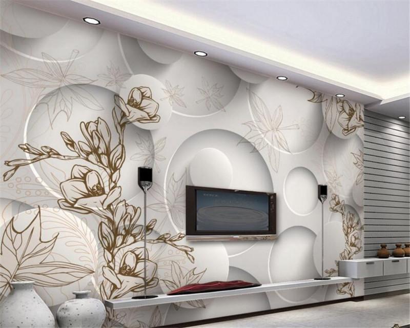 Us $855 43% Offbeibehang 3D Tapete Moderne Linie Zeichnung Magnolia Ahorn  Blatt Wohnzimmer 3D Tv Wand Hintergrund Wandbilder Wallpaper Für Wände 3 von 3D Wohnzimmer Tapeten Bild