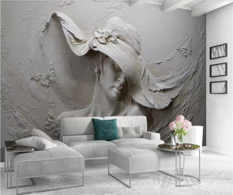 Us $855 43% Offbeibehang Custom Tapete 3D Stereo Wandmalereien Geprägt  Grau Schönheit Ölgemälde Moderne Abstrakte Kunst Wandbild Wohnzimmer 3D von Tapeten Wohnzimmer 3D Photo