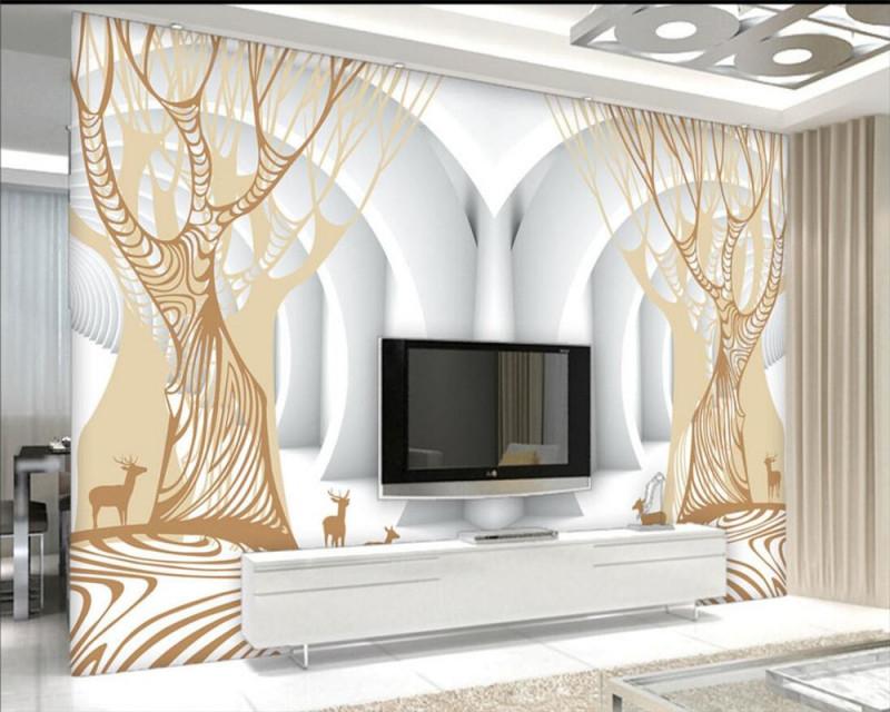 Us $855 43% Offbeibehang Goldene Tunnel Goldene Baum Abstrakte Baum Foto  Tapete 3D Wohnzimmer Schlafzimmer Moderne Backgroundwallpaper Für Wände von Tapeten 3D Wohnzimmer Bild