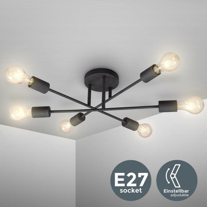 Vintage Deckenleuchte Retro Deckenlampe Schwenkbar 6Flammig Exkl 6X E27  Leuchtmittel von Deckenlampe Wohnzimmer Landhaus Bild