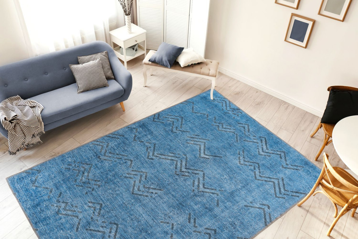Vintage Teppich Blau Zacken Linien Rauten Muster Wohnzimmer Teppiche  Wohnzimmerteppich Esszimmerteppich Teppichläufer Flurläufer Verschied  Farben von Teppich Blau Wohnzimmer Bild