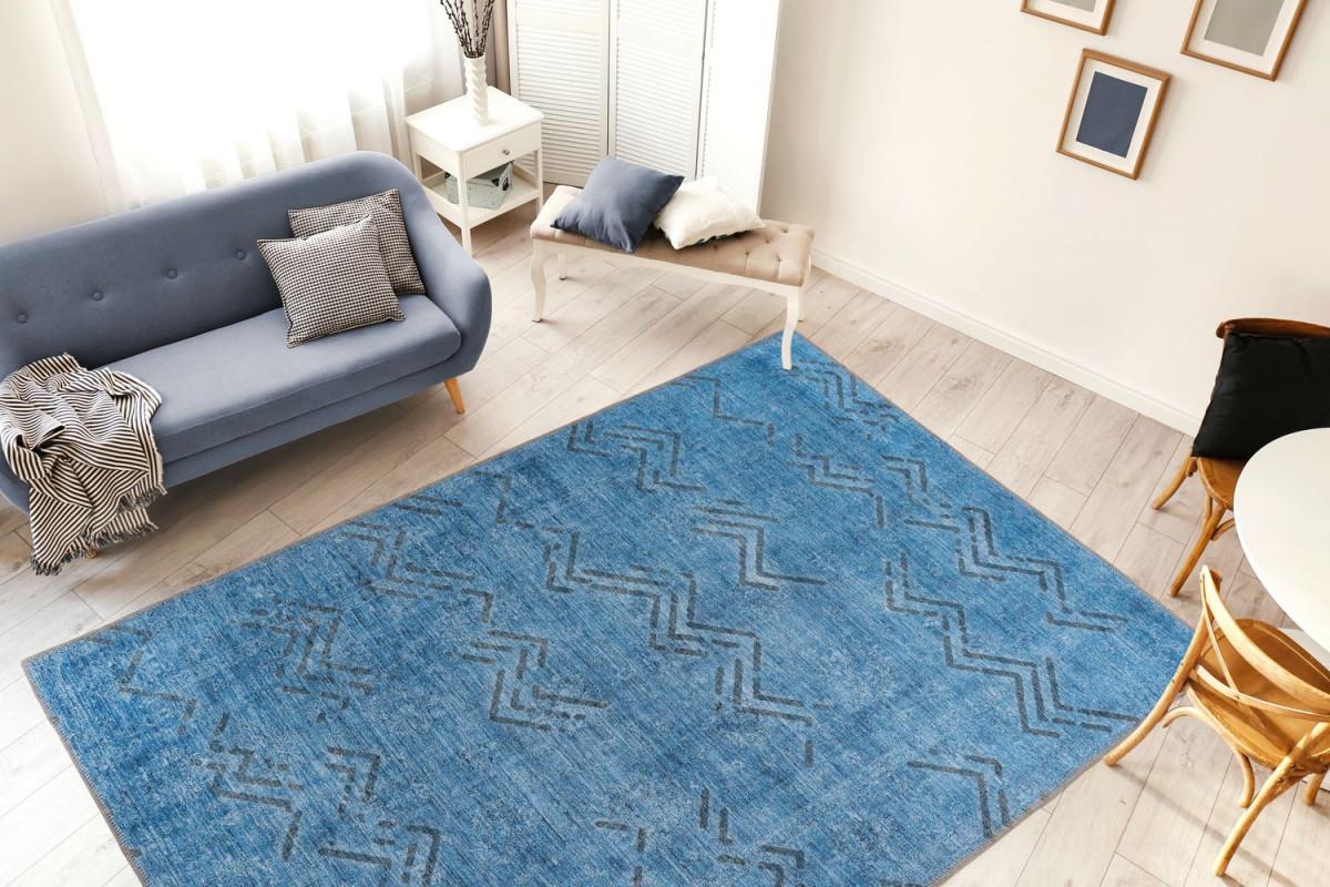 Vintage Teppich Blau Zacken Linien Rauten Muster Wohnzimmer Teppiche  Wohnzimmerteppich Esszimmerteppich Teppichläufer Flurläufer Verschied  Farben von Wohnzimmer Teppich Blau Bild