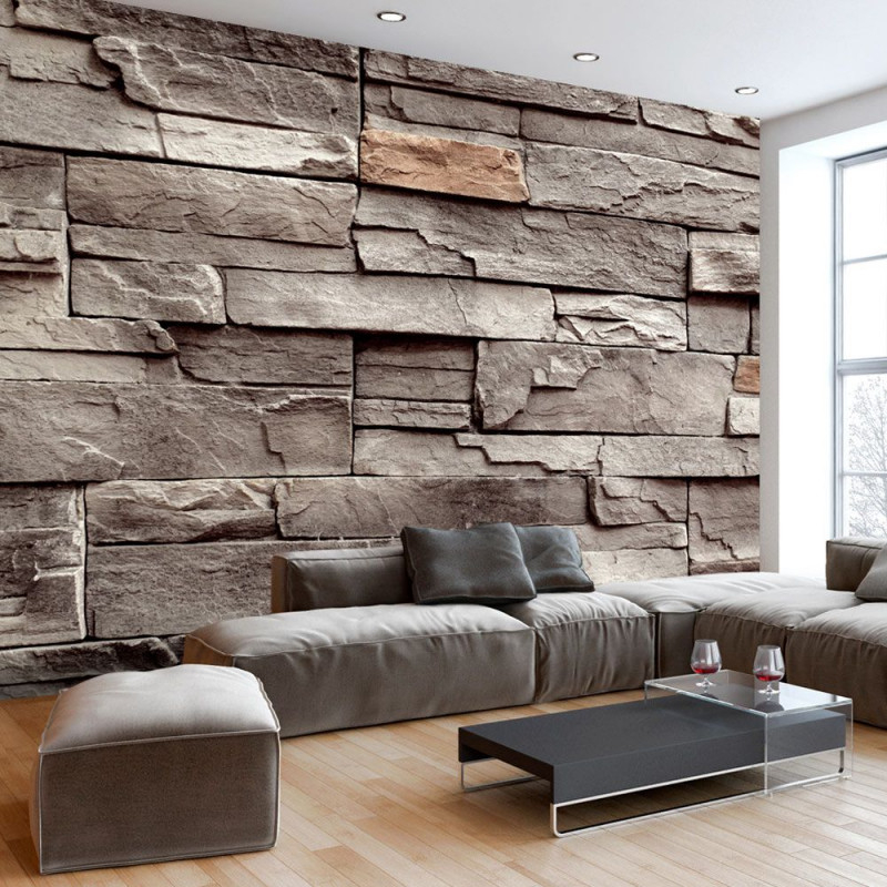 Vlies Fototapete 3 Farben Zur Auswahl Tapeten Steine Wand von Tapeten Wohnzimmer Steinoptik Photo