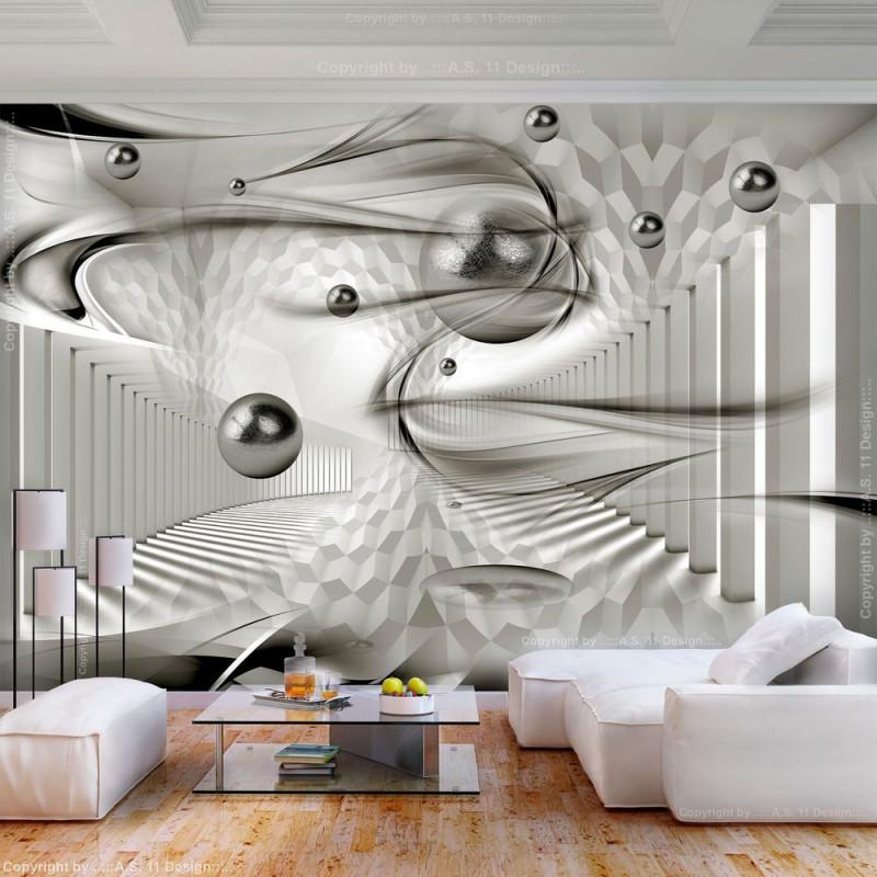 Vlies Fototapete Abstrakt Kugeln Grau 3D Effekt Tapete von 3D Bilder Wohnzimmer Bild