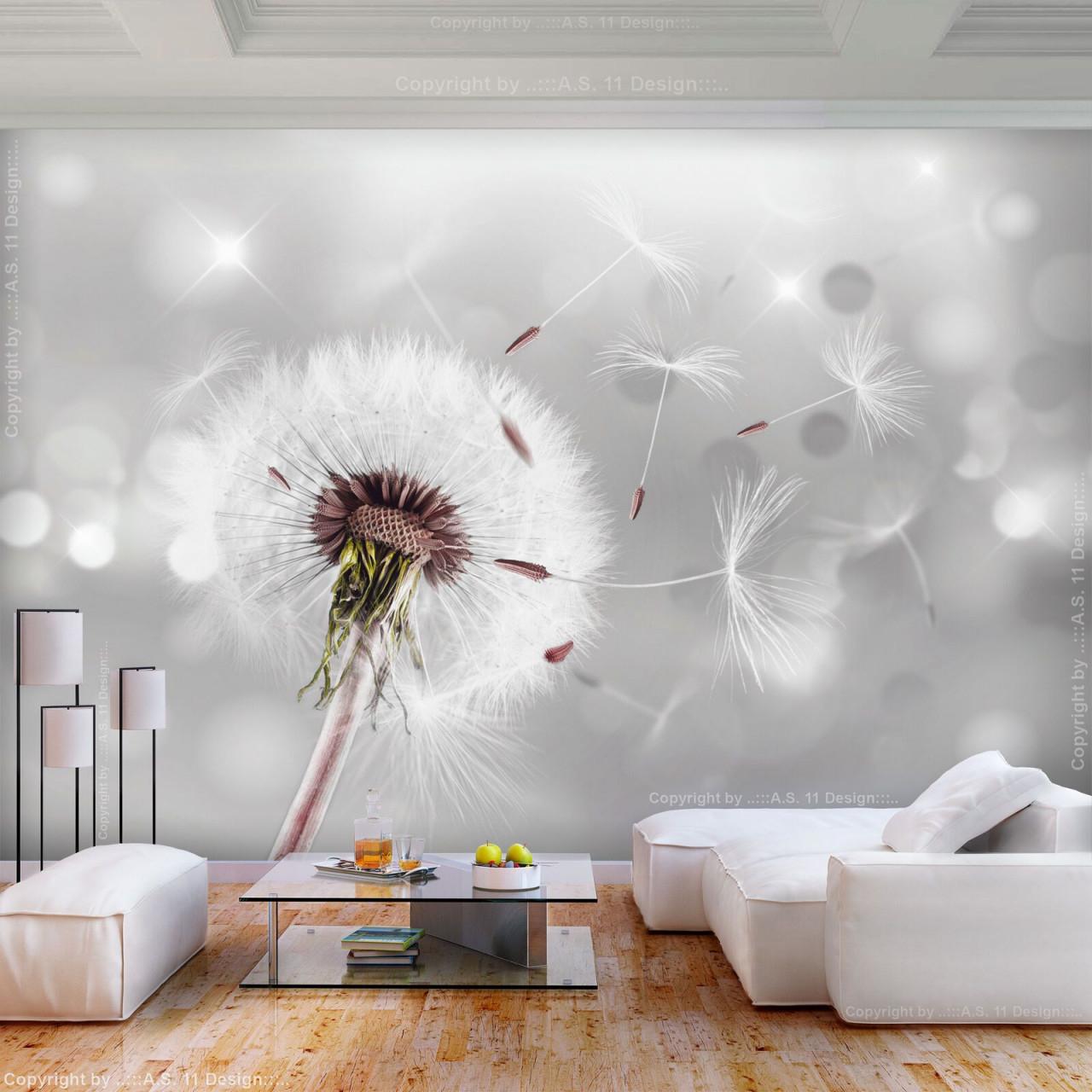 Vlies Fototapete Blumen Pusteblume Grau Tapete Wandbilder von Moderne Fototapeten Für Wohnzimmer Bild