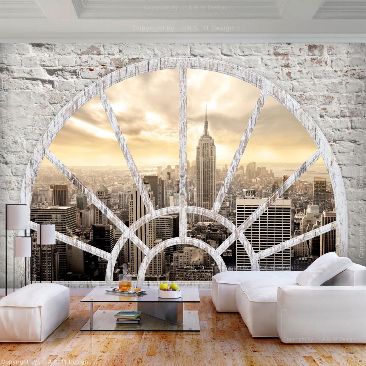 Vlies Fototapete Steinwand New York 3D Effekt Tapete von Wohnzimmer Tapeten 3D Photo