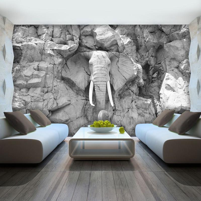Vlies Fototapete Tapete Foto Bild Elefant Grau Wand Stein von Tapeten 3D Wohnzimmer Photo