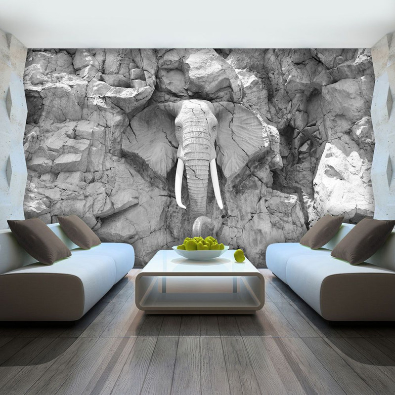 Vlies Fototapete Tapete Foto Bild Elefant Grau Wand Stein von Tapeten Wohnzimmer 3D Photo