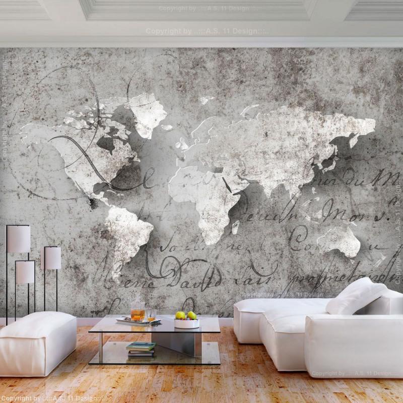 Vlies Fototapete Weltkarte Grau Landkarte Beton Tapete von Bilder Tapeten Wohnzimmer Bild