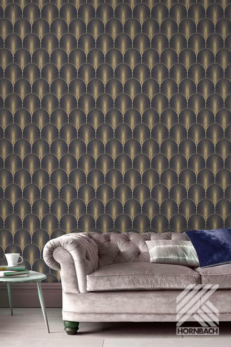 Vliestapete Mitternachtsblau In 2020  Tapeten von Tapeten Trends Wohnzimmer Bild