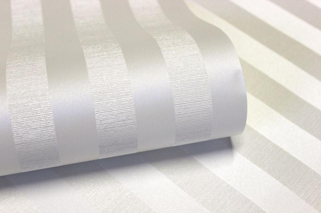 Vliestapete Streifen Seidenglanz Optik Creme Weiß von Streifen Tapeten Wohnzimmer Bild