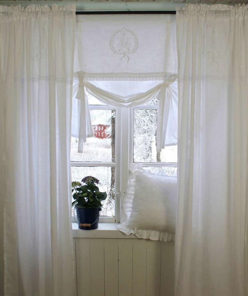 Vorhang Amalie Weiss Gardine 120X240 Cm 2 Stück von Romantische Gardinen Wohnzimmer Photo