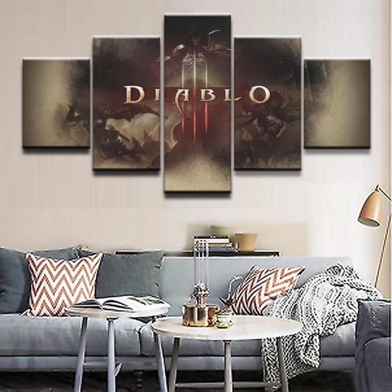 Wand Kunst Modulare Leinwand Wohnzimmer Home Decor Poster Rahmen 5 Stück  Gmae Dämon Hunter Diablo Loge Malerei Hd Drucke Bilder von Bilder Wohnzimmer Mit Rahmen Photo