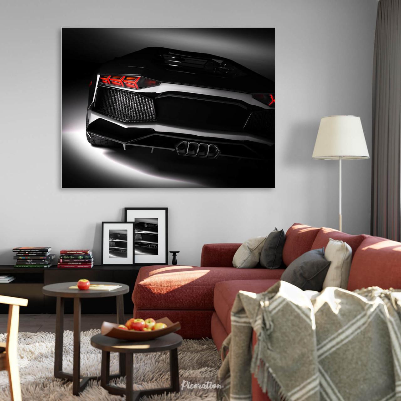Wandbild Schwarzer Sportwagen Ab 100 X 75 Cm Querformat von Bilder Querformat Wohnzimmer Photo