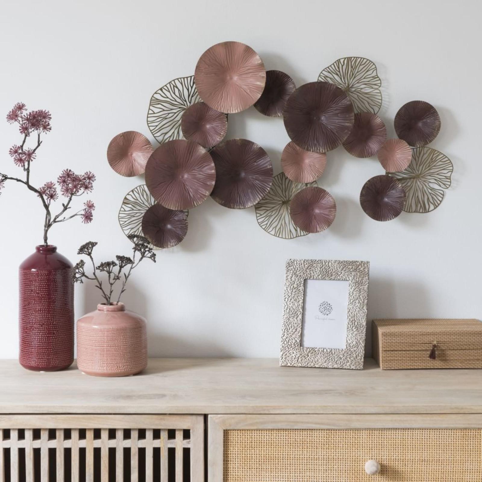 Wanddeko Aus Metall Rosa Bronzefarben Und Violett 71X47 von Metall Deko Wohnzimmer Photo