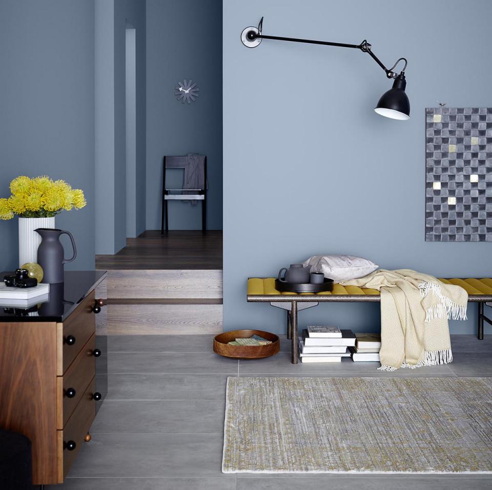 Wandfarbe In Blau • Bilder  Ideen • Couch von Wohnzimmer Ideen Blau Bild