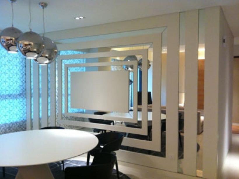 Wandgestaltung Mit Spiegeln Optische Raumerweiterung von Moderne Wandspiegel Wohnzimmer Bild
