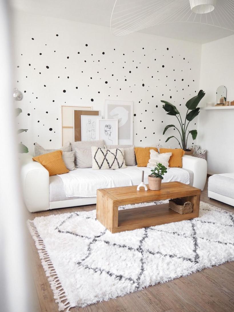 Wandgestaltung Punkte Wand Wohnzimmer Altbau Sofa In von Bilder Wandgestaltung Wohnzimmer Photo