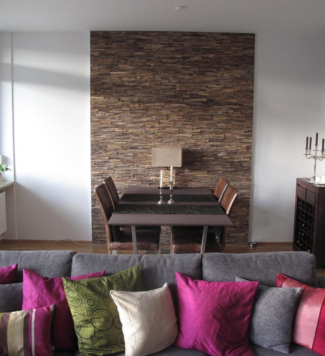 Wandverkleidung Holz Teak Modern  Bsholzdesign von Moderne Wandverkleidung Wohnzimmer Bild