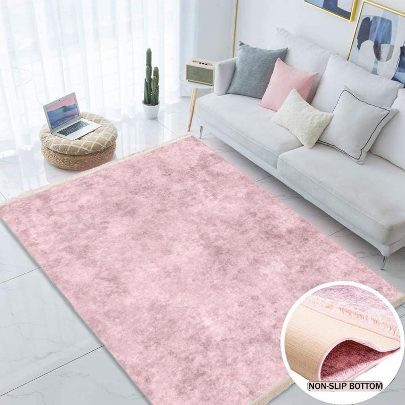 Waschbarer Teppich Für Wohnzimmer Küche Flur Teppichläufer Modern Versch  Größen  1110Pink von Wohnzimmer Teppich Rosa Bild