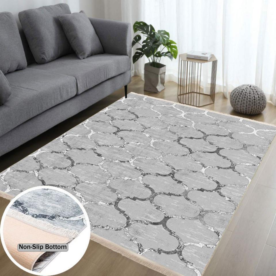 Waschbarer Teppich Für Wohnzimmer Küche Flur Teppichläufer Modern Versch  Größen Gray von Teppich Im Wohnzimmer Bild