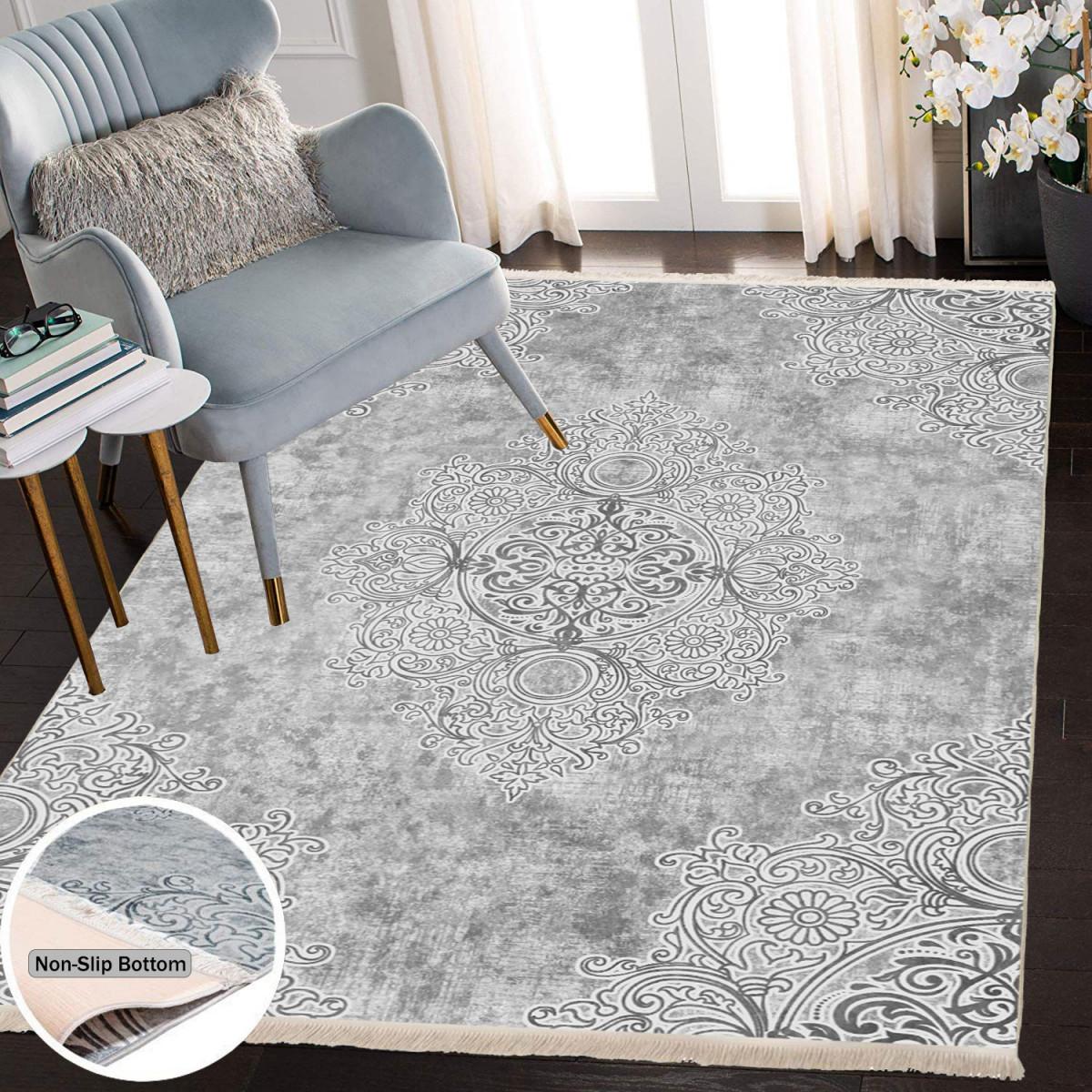 Waschbarer Teppich Für Wohnzimmer Küche Flur Teppichläufer Modern Versch  Größen  Gray von Wohnzimmer Teppich Waschbar Bild