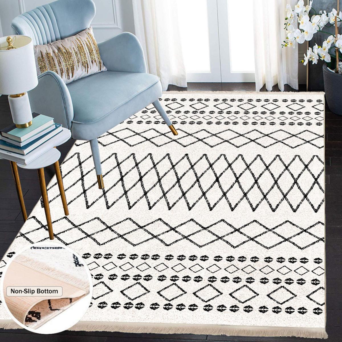 Waschbarer Teppich Wohnzimmer Küche Läufer Flur Teppichläufer  Küchenteppich Teppich Waschbare von Teppich Wohnzimmer Weiß Bild