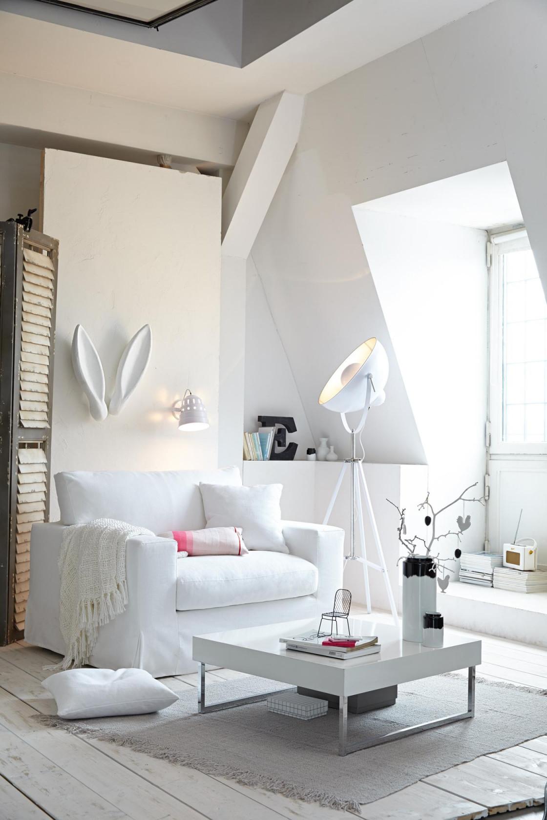 Weißes Wohnzimmer • Bilder  Ideen • Couch von Weißes Wohnzimmer Einrichten Photo