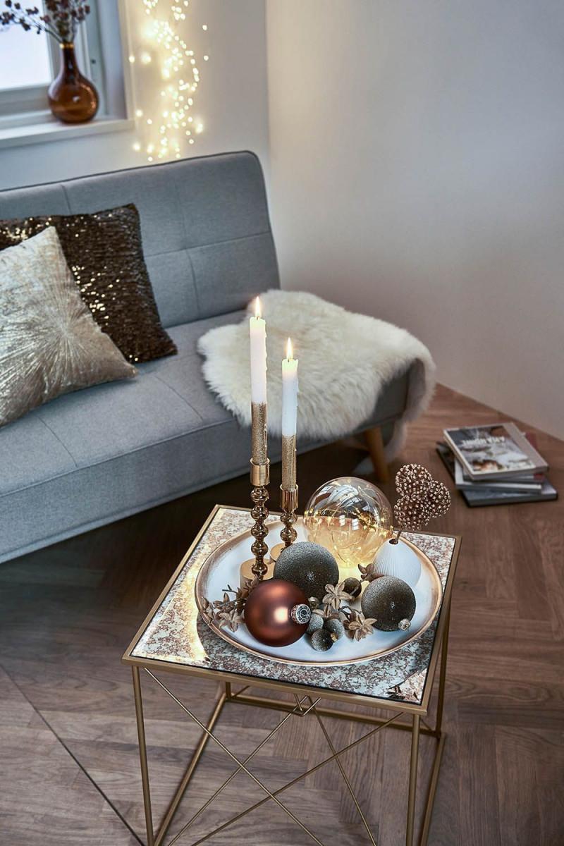 Winterliches Dekotablett In Creme Und Gold Für Dein von Wohnzimmer Deko Ideen Gold Photo