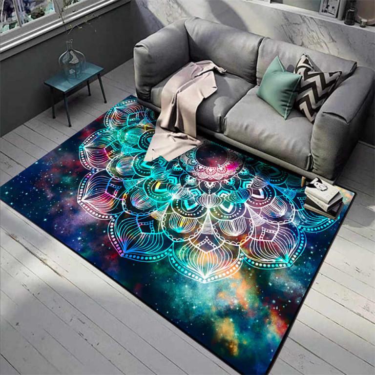 Wishstar Bunte Manadal Blume 3D Teppich Rechteck Floral Star Sky Mädchen  Schlafzimmer Teppich Bad Matte Küche Teppich von 3D Teppich Wohnzimmer Photo