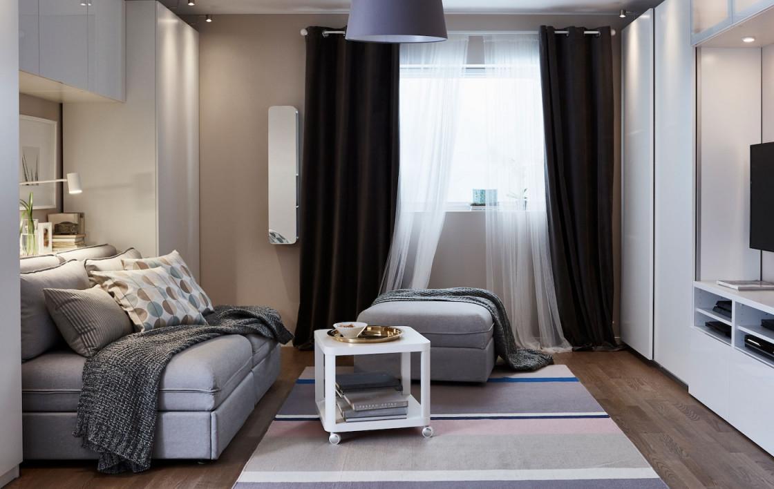 Wohnen  Schlafen Kombinieren Gestaltungstipps  Ikea von Wohnzimmer Rechteckig Einrichten Bild