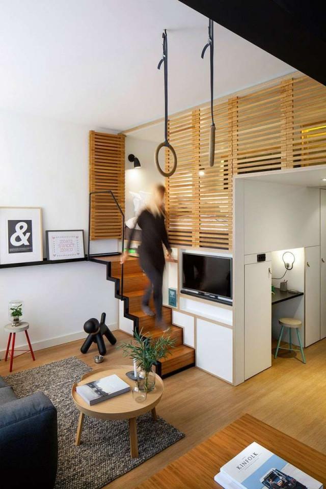 Wohnideen Für Kleine Räume  25 Wohn  Schlafzimmer von Wohnzimmer Platzsparend Einrichten Bild