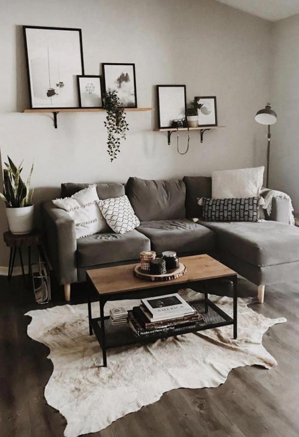 Wohnkultur  Wohnzimmer  Wohnung Dekoration  Kleiner Raum von Wohnzimmer Ideen Graues Sofa Bild