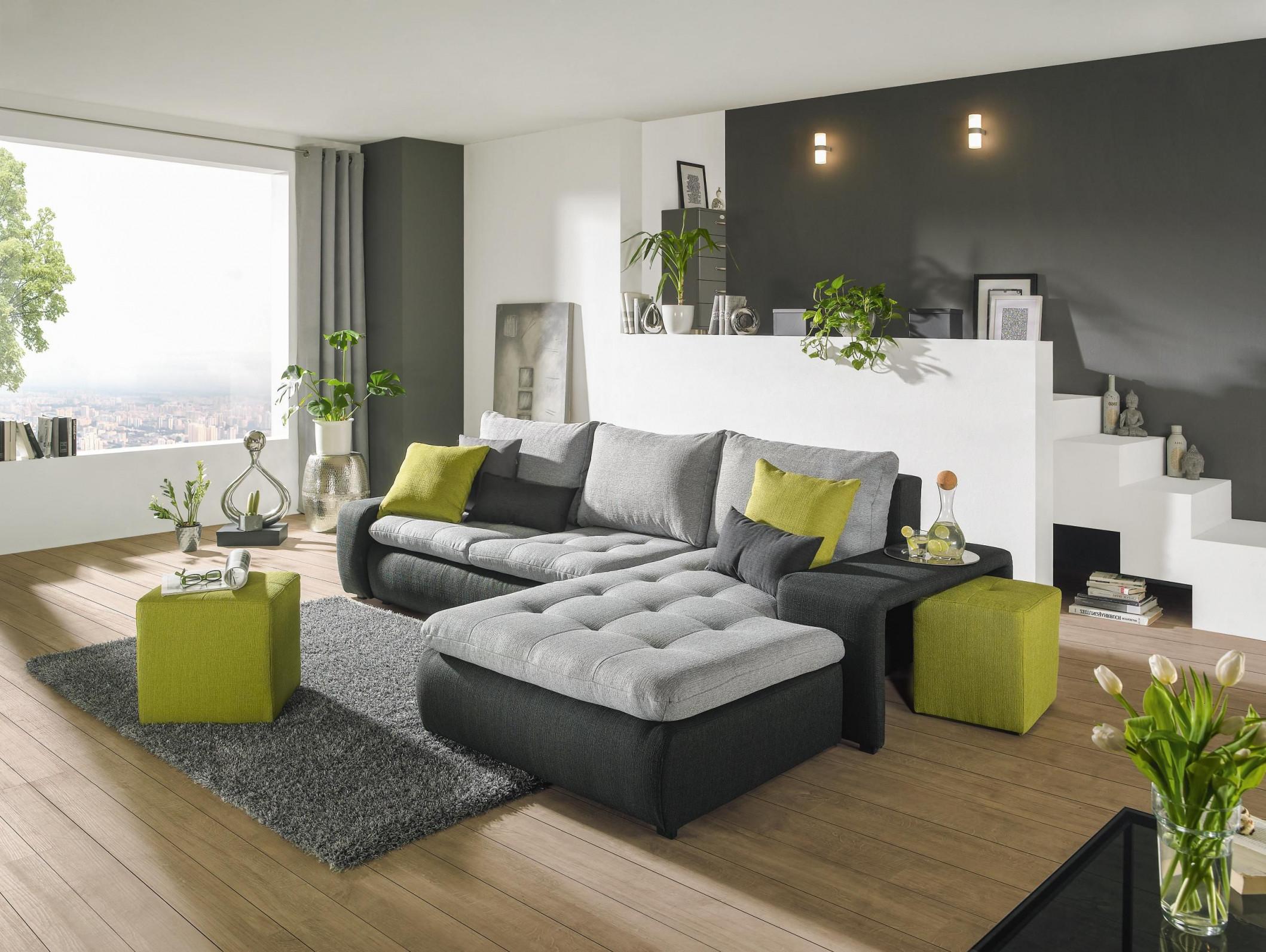Wohnlandschaft In Anthrazit Grau Grün Textil  Wohnzimmer von Wohnzimmer Grau Grün Deko Bild