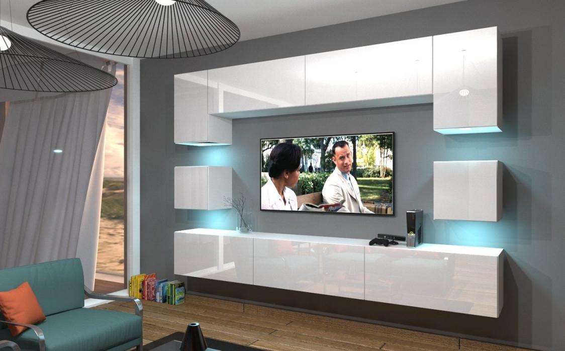Wohnwand An1242 Hochglanz Push To Open Funktion In 2020 von Moderne Schrankwand Wohnzimmer Bild