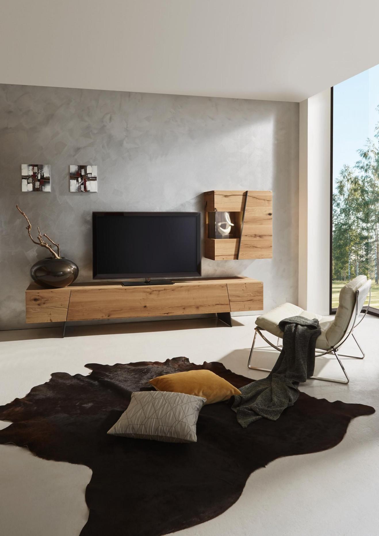 Wohnwand In Grau Naturfarben Von Voglauer  Wohnen von Wohnwand Gestalten Wohnzimmer Photo