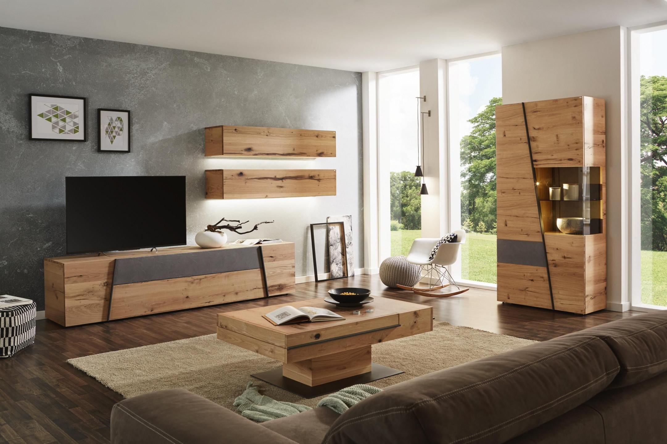 Wohnwand In Grau Naturfarben Von Voglauer  Wohnzimmer von Wohnwand Gestalten Wohnzimmer Photo