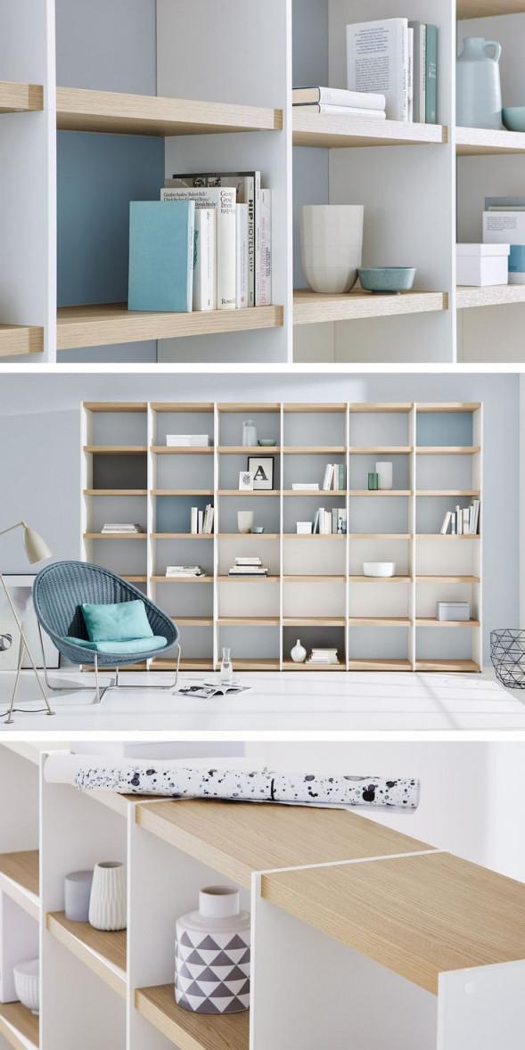 Wohnwandbücherregal Im Wohnzimmer – Weißeiche – Regalraum von Bücherregal Wohnzimmer Ideen Photo