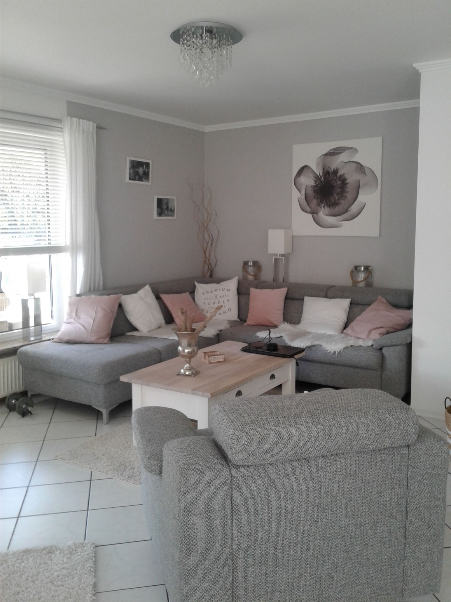 Wohnzimmer In Grau Weiß Und Farbtupfer In Matt Rosa von Deko Grau Weiß Wohnzimmer Bild