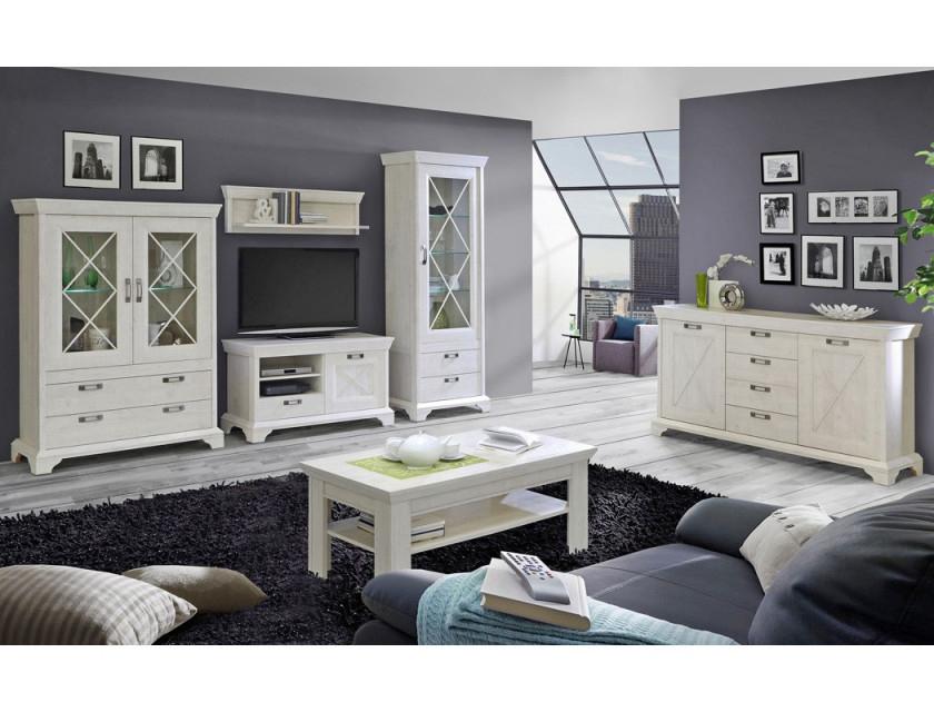 Wohnzimmer Kasimir 30 Pinie Weiß 6Teilig Ledbeleuchtung Landhausstil   Expendio von Bilder Wohnzimmer Landhausstil Bild
