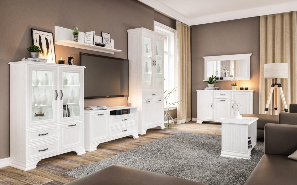 Wohnzimmer Kombi 3Teilig Juna Landhausstil Weiß  Moebellux von Bilder Wohnzimmer Landhausstil Bild