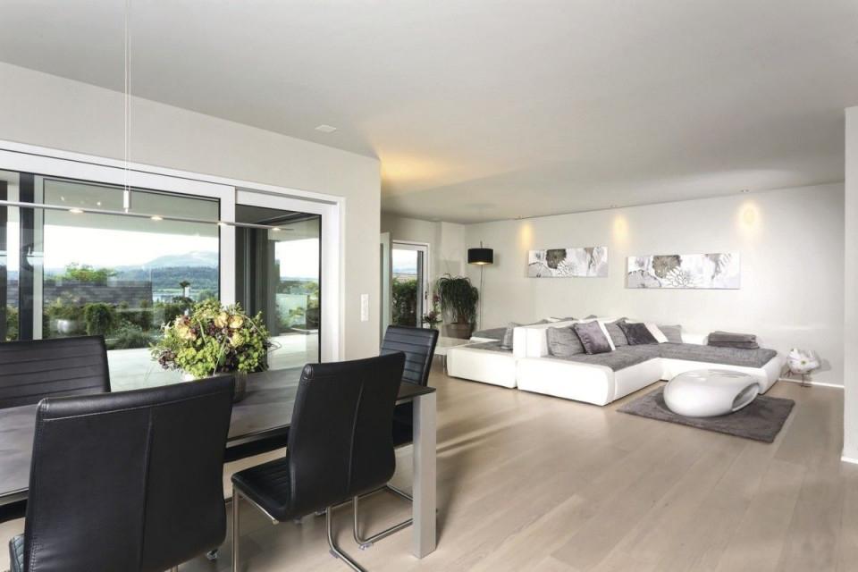 Wohnzimmer Mit Essbereich Grau Weiß Einrichten von Moderne Einrichtung Wohnzimmer Bild