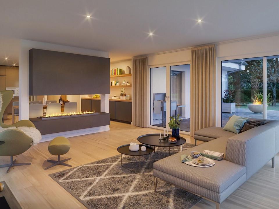 Wohnzimmer Mit Kamin Als Raumteiler  Bungalow Haus Innen von Wohnzimmer Einrichten Modern Bild