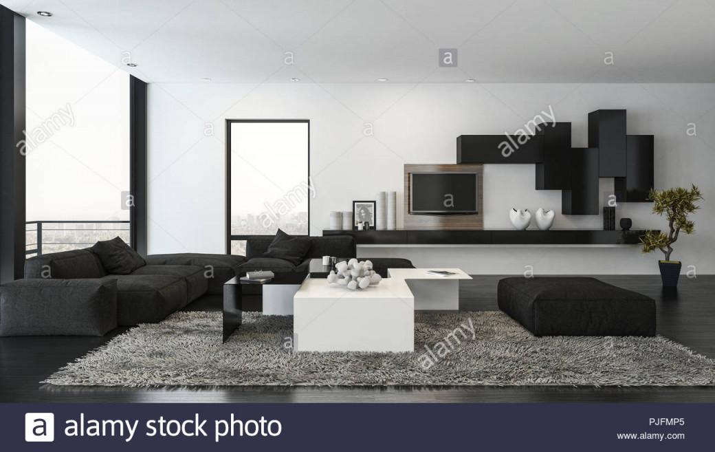 Wohnzimmer Mit Schwarzer Couch Auf Flauschigen Teppich Und von Schwarzer Teppich Wohnzimmer Bild
