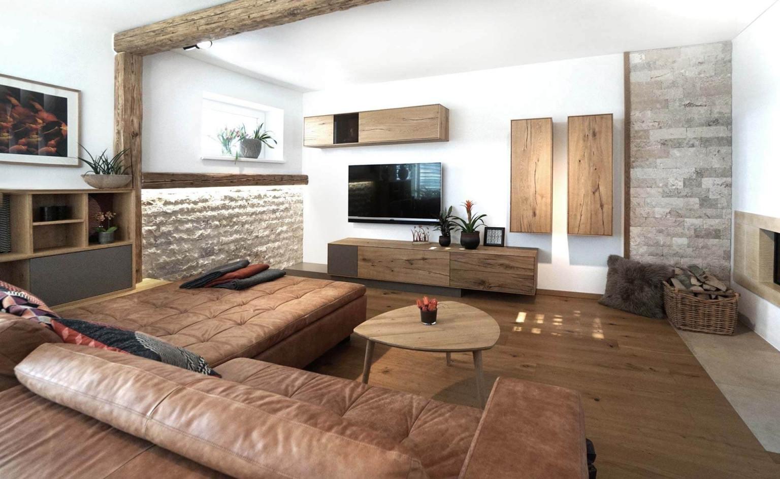 Wohnzimmer Modern Gemütlich Altholz Eiche Leder Stein von Rustikale Moderne Wohnzimmer Photo