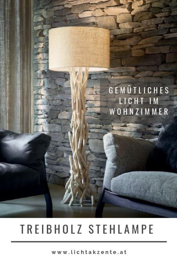 Wohnzimmer Stehlampe Aus Treibholz In 2020  Stehlampe Holz von Lampe Wohnzimmer Landhaus Photo